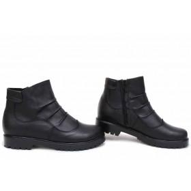 Дамски боти - естествена кожа - черни - EO-16819