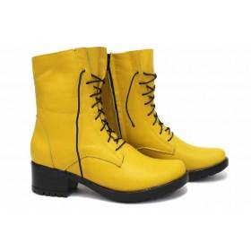 Дамски боти - естествена кожа - жълти - EO-16826