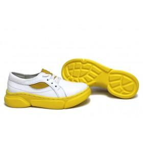 Равни дамски обувки - естествена кожа - бели - EO-15368