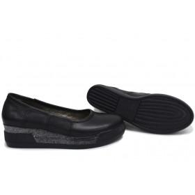 Дамски обувки на платформа - естествена кожа - черни - EO-15381