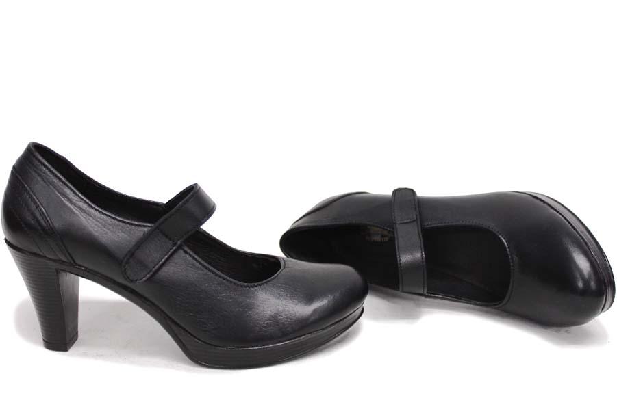 Дамски обувки на висок ток - естествена кожа - черни - EO-16074