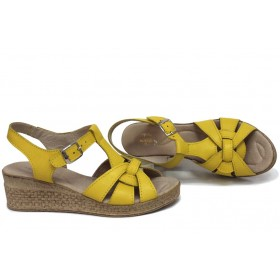 Дамски сандали - естествена кожа - жълти - EO-15731