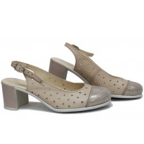 Дамски сандали - естествена кожа - бежови - EO-16116