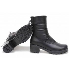 Дамски боти - естествена кожа - черни - EO-16848