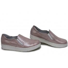 Равни дамски обувки - естествена кожа - розови - EO-15389
