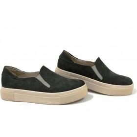 Дамски обувки на платформа - естествен набук - зелени - EO-15388
