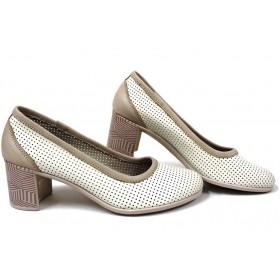 Дамски обувки на среден ток - естествена кожа - бежови - EO-15391