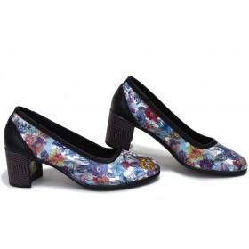 Дамски обувки на среден ток - естествена кожа - черни - EO-15392