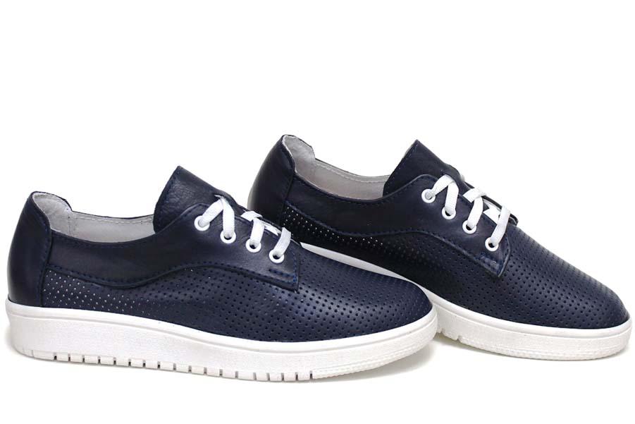 Равни дамски обувки - естествена кожа - сини - EO-15395