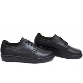 Равни дамски обувки - естествена кожа - черни - EO-15400