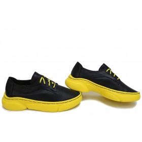 Равни дамски обувки - естествена кожа - черни - EO-15649