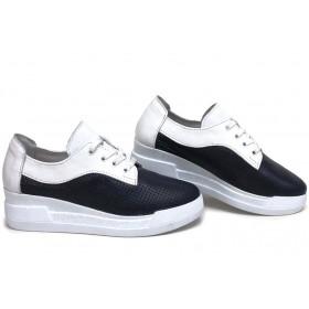 Дамски обувки на платформа - естествена кожа - сини - EO-15402