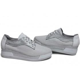 Дамски обувки на платформа - естествена кожа - бели - EO-15403