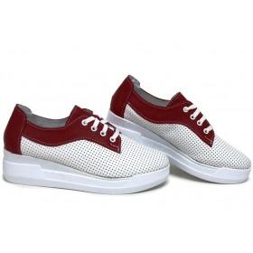 Равни дамски обувки - естествена кожа - бели - EO-15396