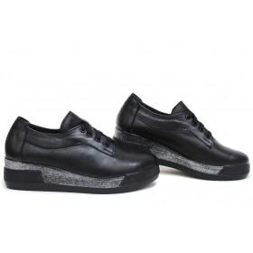 Дамски обувки на платформа - естествена кожа - черни - EO-15398