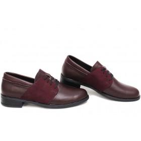 Равни дамски обувки - естествена кожа - бордо - EO-15412