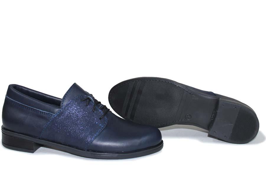 Равни дамски обувки - естествена кожа - сини - EO-15411