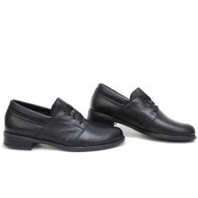 Равни дамски обувки - естествена кожа - черни - EO-15414