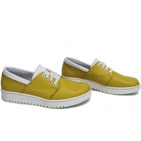 Равни дамски обувки - естествена кожа - жълти - EO-15405