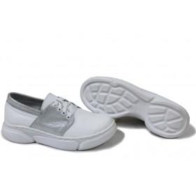 Равни дамски обувки - естествена кожа - бели - EO-15404
