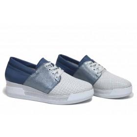 Дамски обувки на платформа - естествена кожа - бели - EO-15415