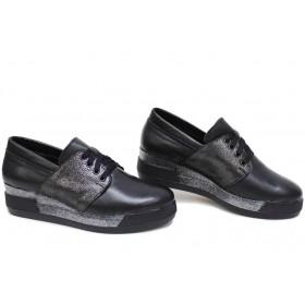 Дамски обувки на платформа - естествена кожа - черни - EO-15410