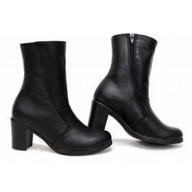 Дамски боти - естествена кожа - черни - EO-16851