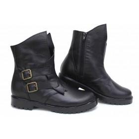 Дамски боти - естествена кожа - черни - EO-16853