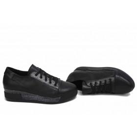Дамски обувки на платформа - естествена кожа - черни - EO-15416