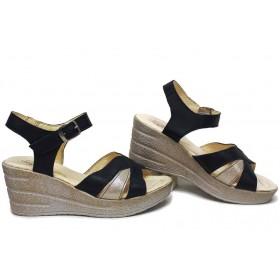 Дамски сандали - естествена кожа - сини - EO-15734