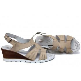 Дамски сандали - естествена кожа - бежови - EO-15735