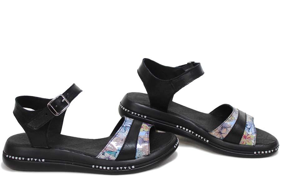 Дамски сандали - естествена кожа - черни - EO-16117