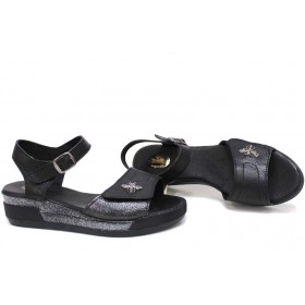 Дамски сандали - естествена кожа - черни - EO-15736