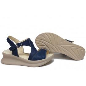 Дамски сандали - естествена кожа - сини - EO-16118