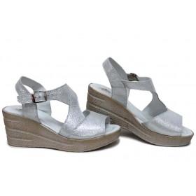 Дамски сандали - естествена кожа - бели - EO-15708