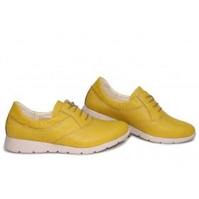 Равни дамски обувки - естествена кожа - жълти - EO-15650