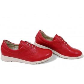 Равни дамски обувки - естествена кожа - червени - EO-15420