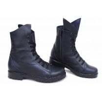 Дамски боти - естествена кожа - сини - EO-16857