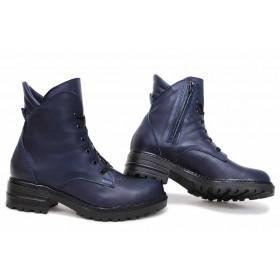 Дамски боти - естествена кожа - сини - EO-16858