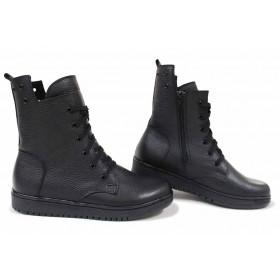 Дамски боти - естествена кожа - черни - EO-16865