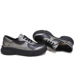 Дамски спортни обувки - естествена кожа - сиви - EO-15421