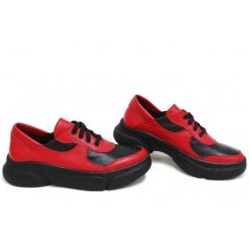 Дамски спортни обувки - естествена кожа - червени - EO-15422