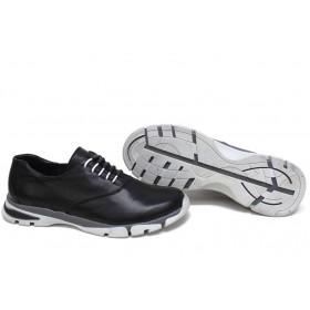 Равни дамски обувки - естествена кожа - черни - EO-15429