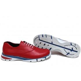 Равни дамски обувки - естествена кожа - червени - EO-15428
