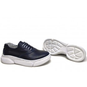 Равни дамски обувки - естествена кожа - сини - EO-15425