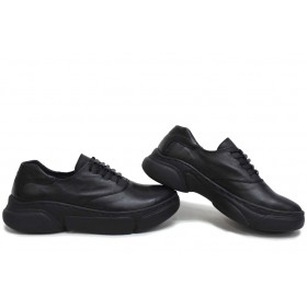 Дамски спортни обувки - естествена кожа - черни - EO-15426