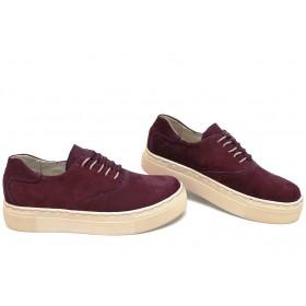 Дамски спортни обувки - естествен набук - бордо - EO-15427