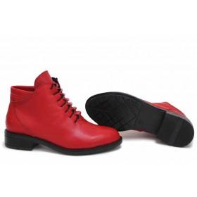 Дамски боти - естествена кожа - червени - EO-16879