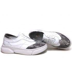 Равни дамски обувки - естествена кожа - бели - EO-15430