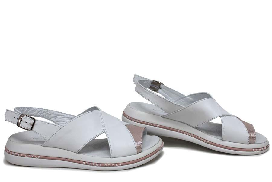 Дамски сандали - естествена кожа - бели - EO-16119